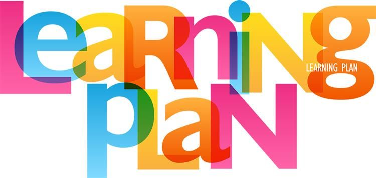 A colorful picture of the words learning plan