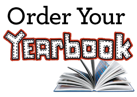 Picture of a open yearbook with the words order your yearbook