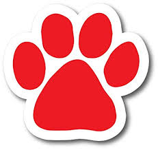 red paw print