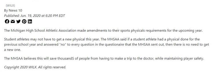 MHSAA Announcement